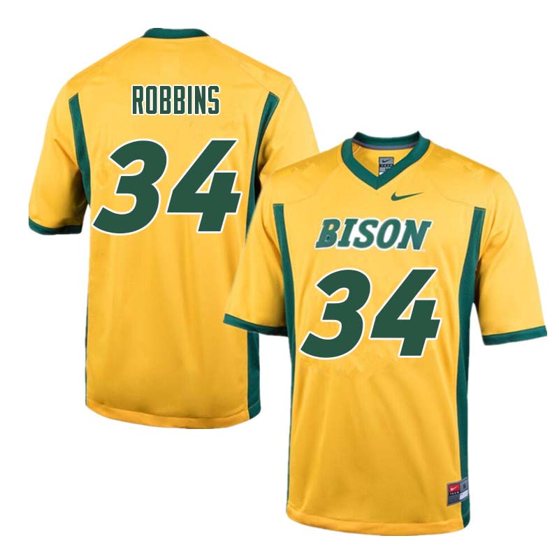 Men #34 Brock Robbins North Dakota State Bison College Football Jerseys Sale-Yellow