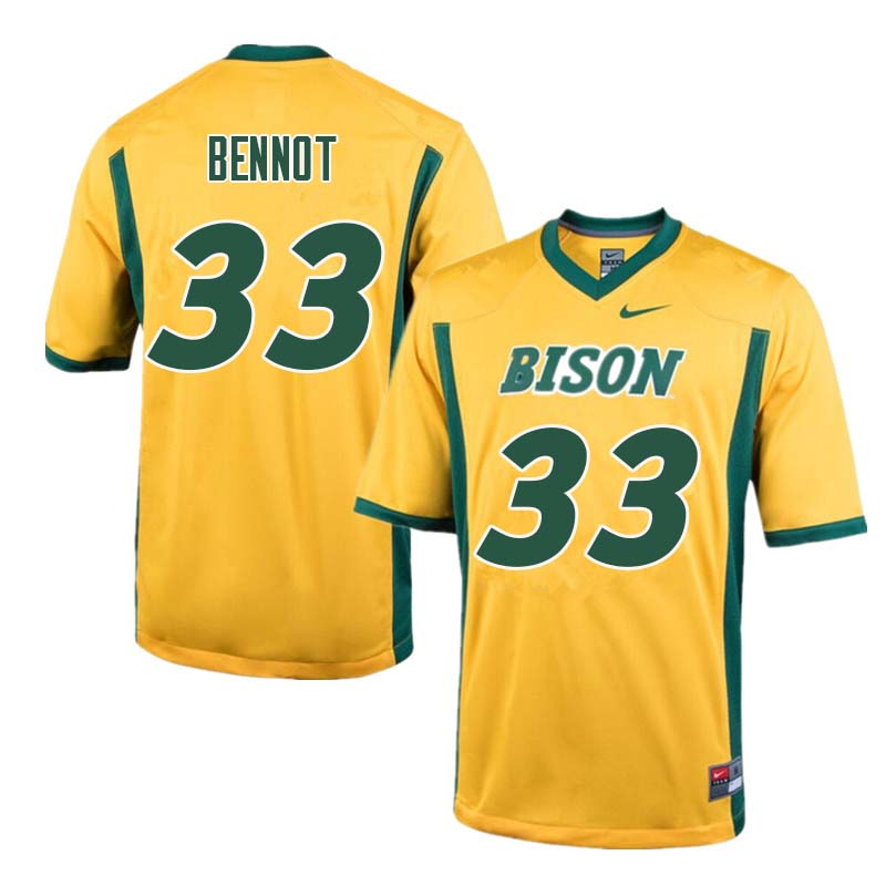 Men #33 Bryce Bennot North Dakota State Bison College Football Jerseys Sale-Yellow