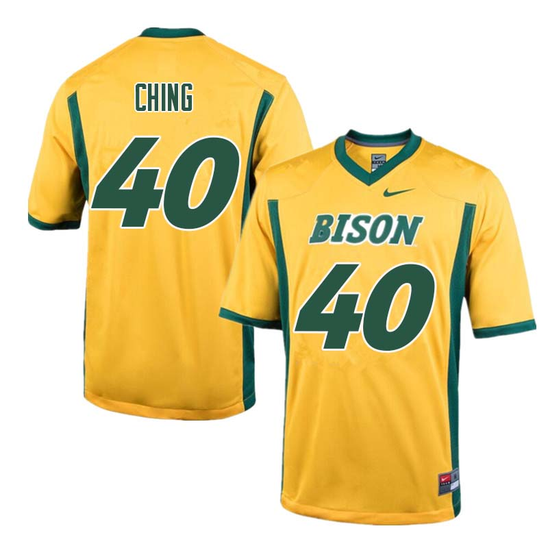 Men #40 Costner Ching North Dakota State Bison College Football Jerseys Sale-Yellow