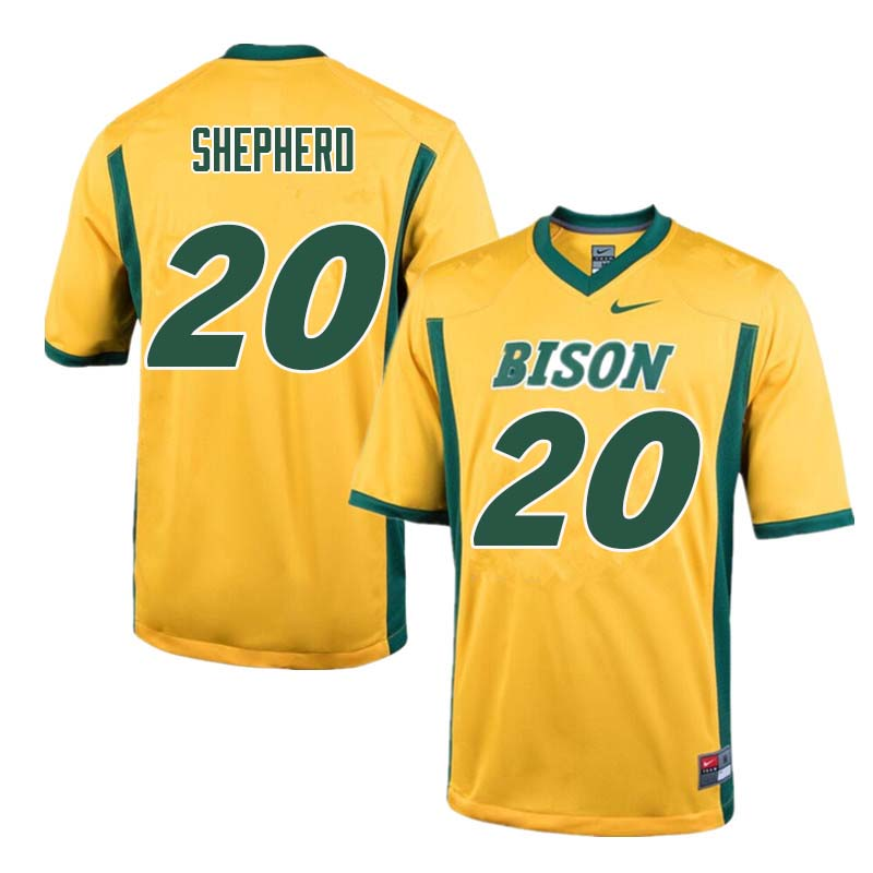Men #20 Darrius Shepherd North Dakota State Bison College Football Jerseys Sale-Yellow