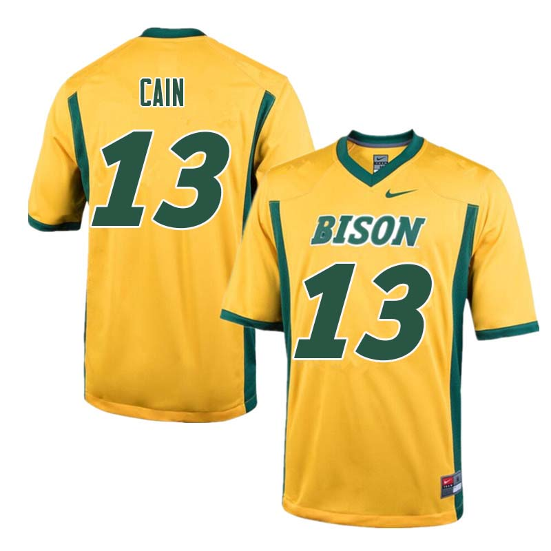 Men #13 Desmond Cain North Dakota State Bison College Football Jerseys Sale-Yellow