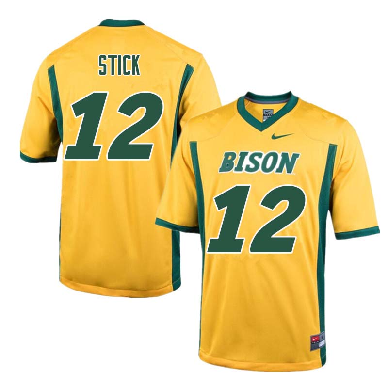 Men #12 Easton Stick North Dakota State Bison College Football Jerseys Sale-Yellow