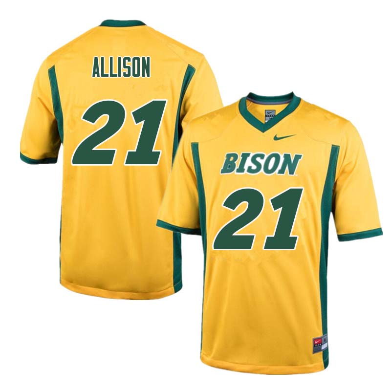 Men #21 Jalen Allison North Dakota State Bison College Football Jerseys Sale-Yellow