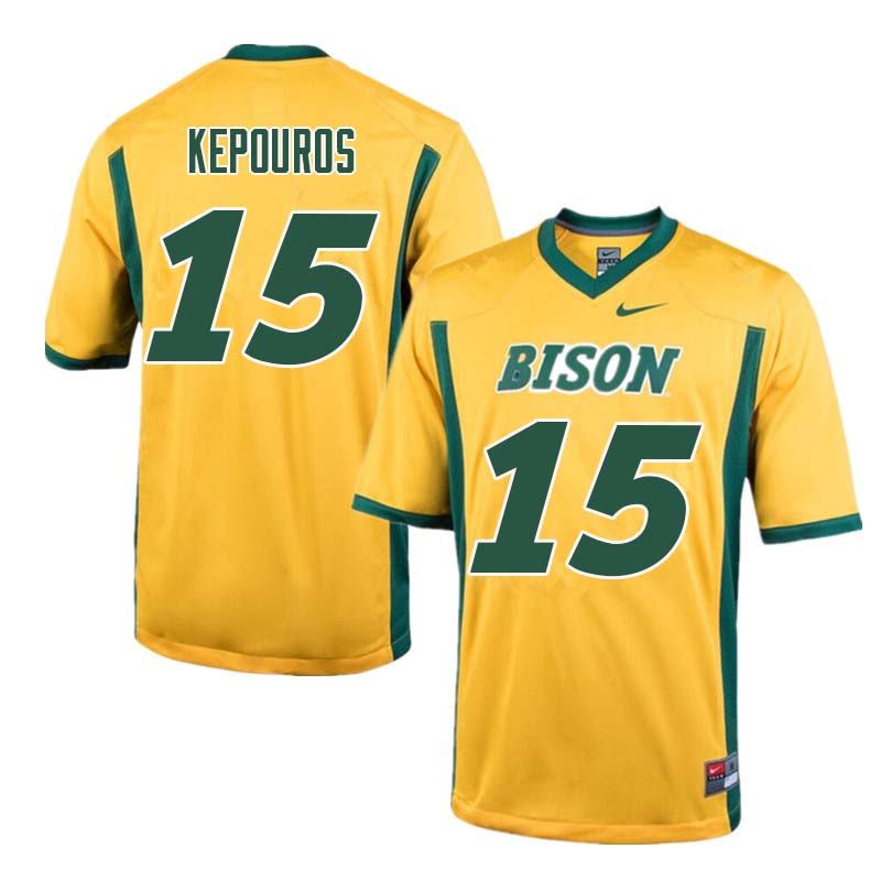 Men #15 Jimmy Kepouros North Dakota State Bison College Football Jerseys Sale-Yellow