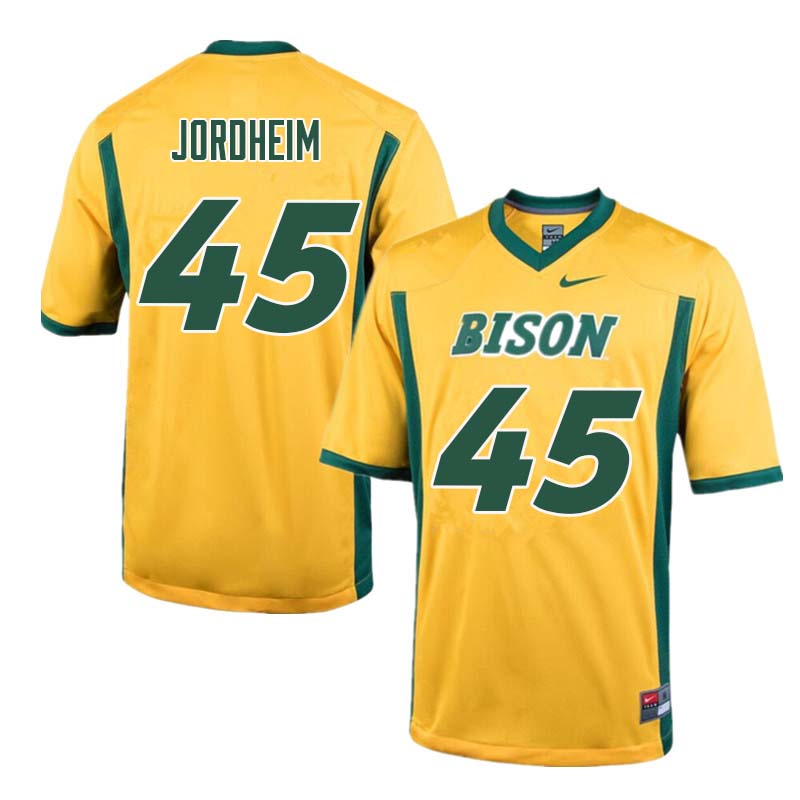 Men #45 Levi Jordheim North Dakota State Bison College Football Jerseys Sale-Yellow