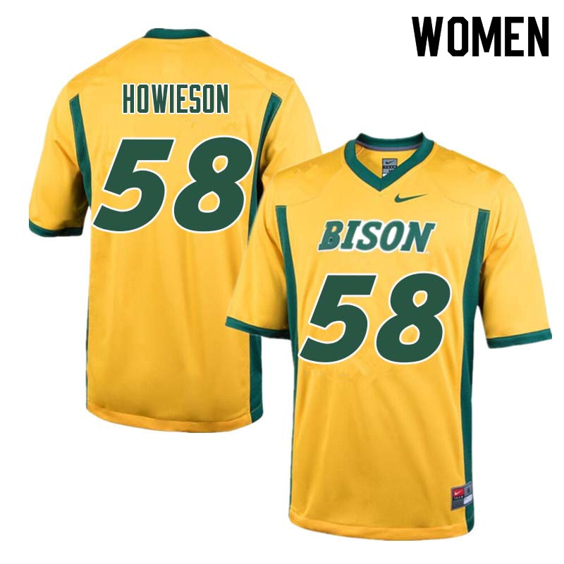 Women #58 Josh Howieson North Dakota State Bison College Football Jerseys Sale-Yellow