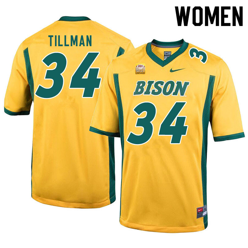 Women #34 Juanye Tillman North Dakota State Bison College Football Jerseys Sale-Yellow
