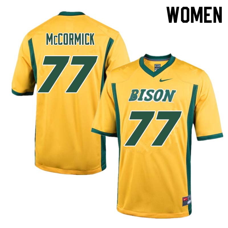 Women #77 Logan McCormick North Dakota State Bison College Football Jerseys Sale-Yellow
