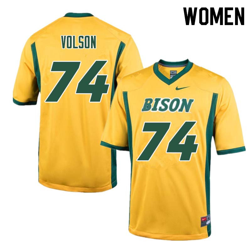 Women #74 Tanner Volson North Dakota State Bison College Football Jerseys Sale-Yellow