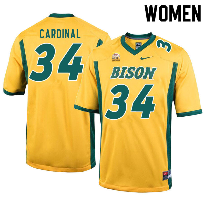 Women #34 Will Cardinal North Dakota State Bison College Football Jerseys Sale-Yellow