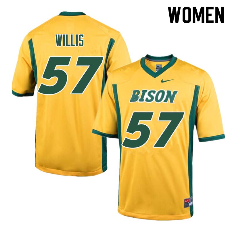 Women #57 Zach Willis North Dakota State Bison College Football Jerseys Sale-Yellow
