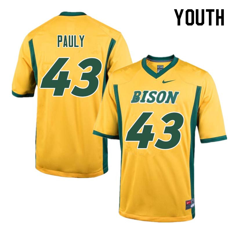 Youth #43 Beau Pauly North Dakota State Bison College Football Jerseys Sale-Yellow