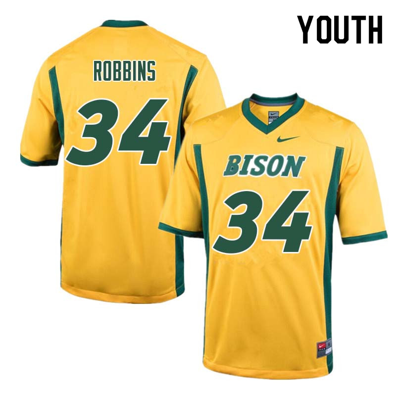 Youth #34 Brock Robbins North Dakota State Bison College Football Jerseys Sale-Yellow