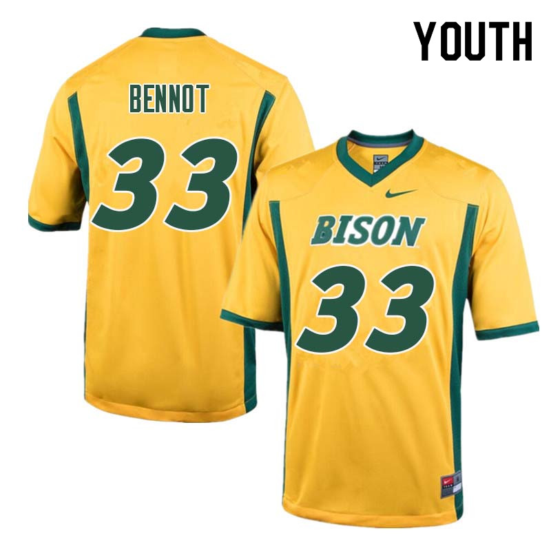 Youth #33 Bryce Bennot North Dakota State Bison College Football Jerseys Sale-Yellow
