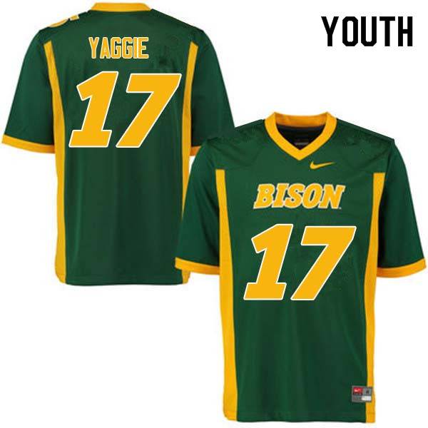 Youth #17 Carson Yaggie North Dakota State Bison College Football Jerseys Sale-Green