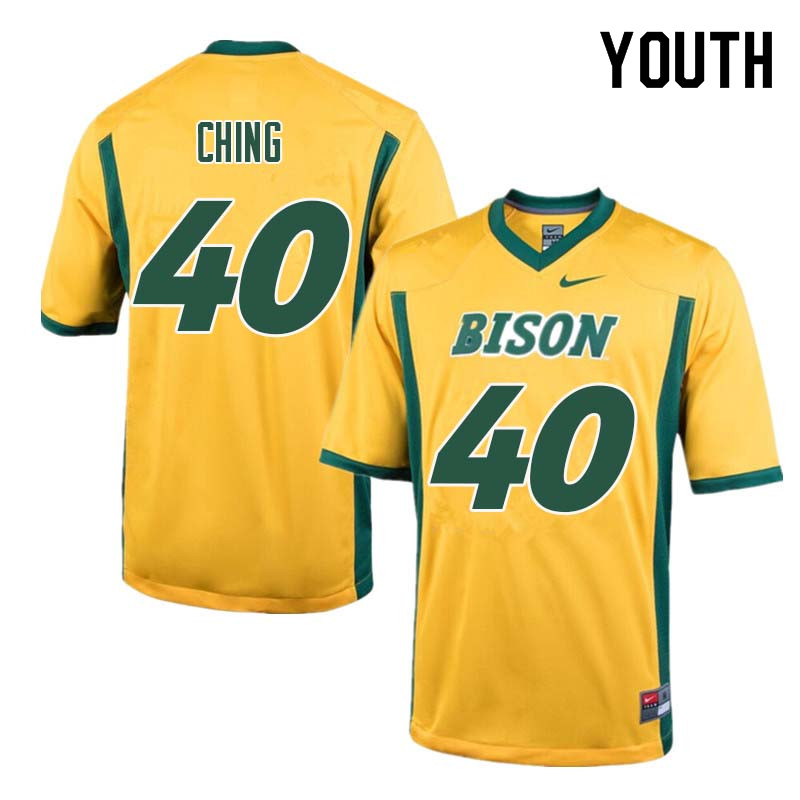 Youth #40 Costner Ching North Dakota State Bison College Football Jerseys Sale-Yellow