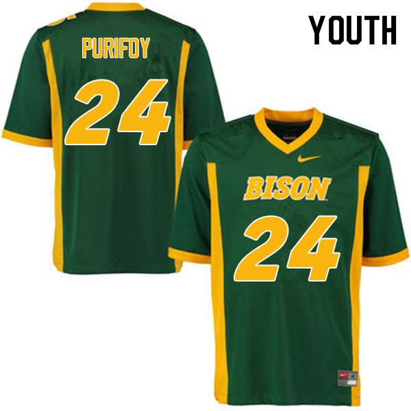Youth #24 Demaris Purifoy North Dakota State Bison College Football Jerseys Sale-Green
