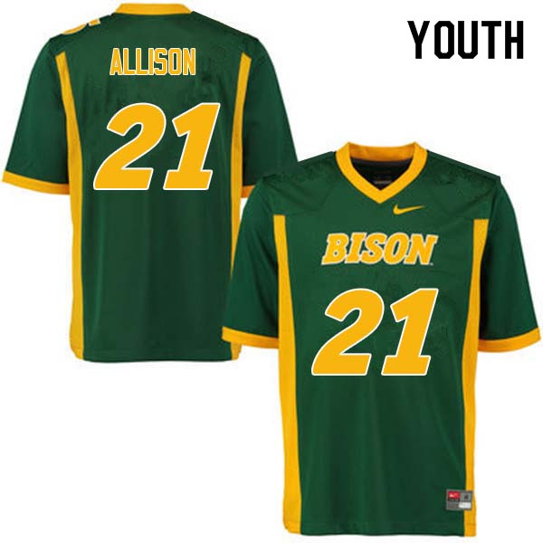 Youth #21 Jalen Allison North Dakota State Bison College Football Jerseys Sale-Green