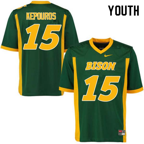 Youth #15 Jimmy Kepouros North Dakota State Bison College Football Jerseys Sale-Green