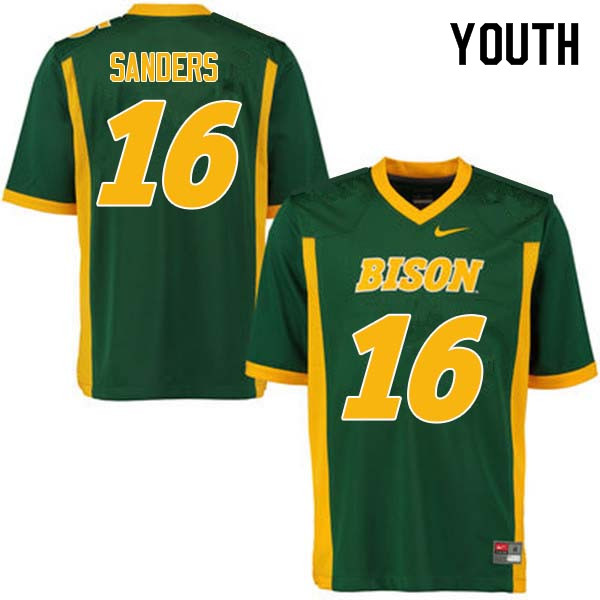 Youth #16 Noah Sanders North Dakota State Bison College Football Jerseys Sale-Green