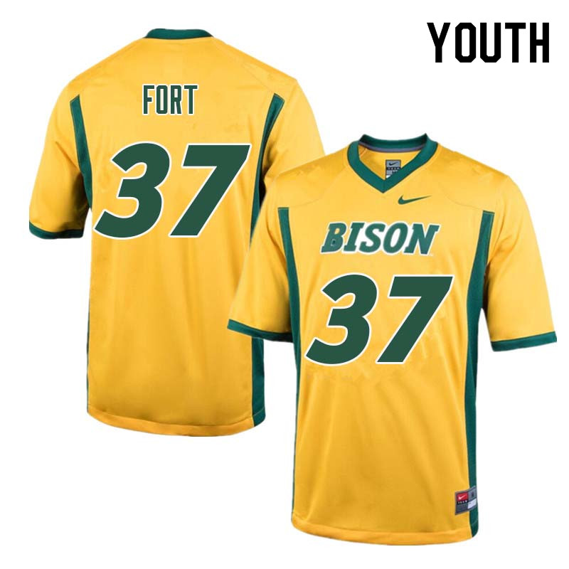Youth #37 Tre Fort North Dakota State Bison College Football Jerseys Sale-Yellow